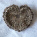 hand spun beagle yarn, crochet heart pin