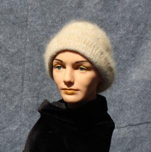 knit hat of handspun dog hair